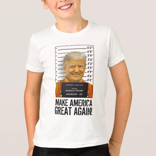Trump Prison Mugshot MAGA Kids' American Apparel Fine Jersey T-Shirt