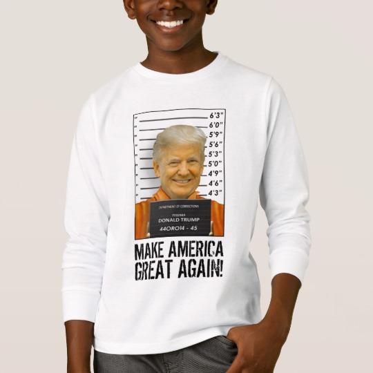 Trump Prison Mugshot MAGA Kids' Basic Long Sleeve T-Shirt