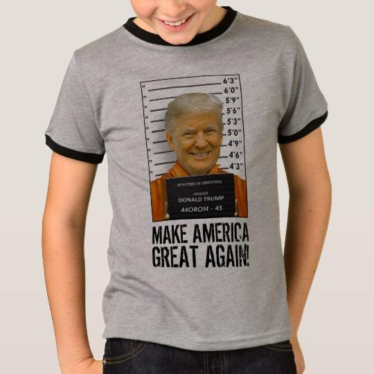 Trump Prison Mugshot MAGA Kids' Basic Ringer T-Shirt