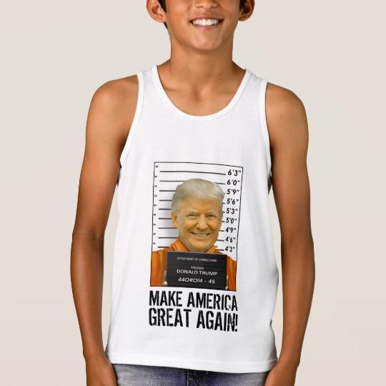 Trump Prison Mugshot MAGA Kids' Bella+Canvas Jersey Tank Top