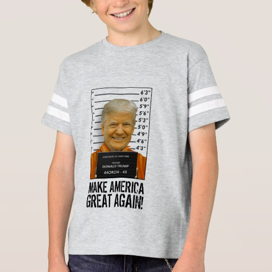 Trump Prison Mugshot MAGA Kids' Football Shirt