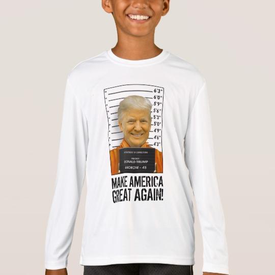 Trump Prison Mugshot MAGA Kids' Sport-Tek Competitor Long Sleeve T-Shirt