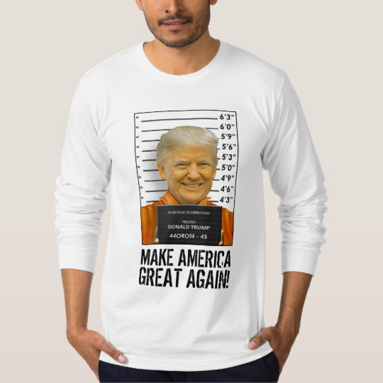 Trump Prison Mugshot MAGA Men's American Apparel Fine Jersey Long Sleeve T-Shirt
