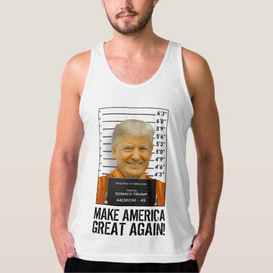 Trump Prison Mugshot MAGA Men's American Apparel Fine Jersey Tank Top