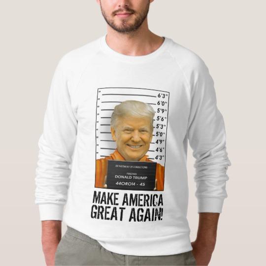 Trump Prison Mugshot MAGA Men's American Apparel Raglan Sweatshirt