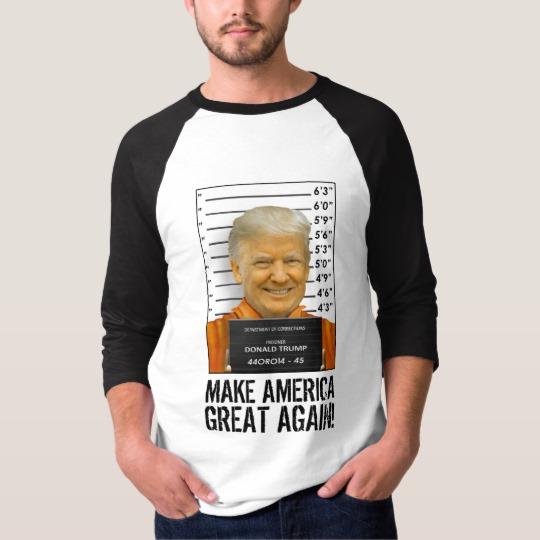 Trump Prison Mugshot MAGA Men's Basic 3/4 Sleeve Raglan T-Shirt