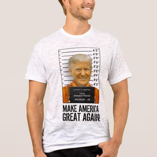 Trump Prison Mugshot MAGA Men's Canvas Fitted Burnout T-Shirt