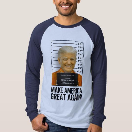 Trump Prison Mugshot MAGA Men's Canvas Long Sleeve Raglan T-Shirt