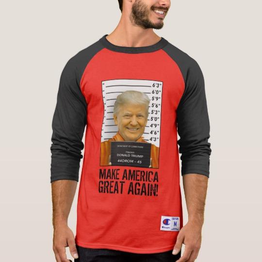 Trump Prison Mugshot MAGA Men's Champion 3/4 Sleeve Raglan T-Shirt