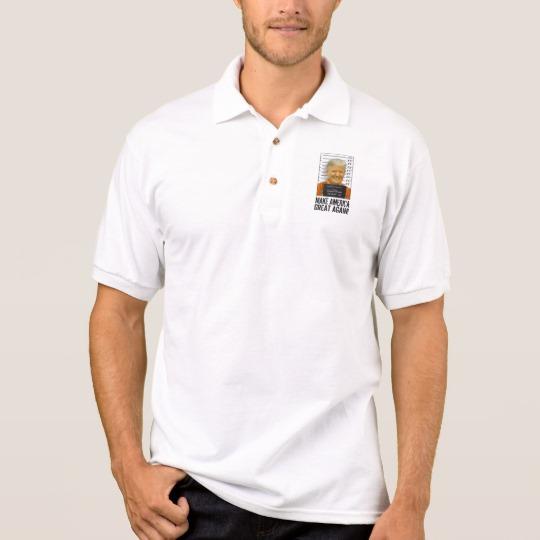 Trump Prison Mugshot MAGA Men's Gildan Jersey Polo Shirt