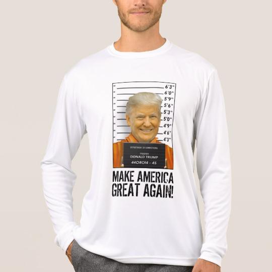 Trump Prison Mugshot MAGA Men's Sport-Tek Competitor Long Sleeve T-Shirt