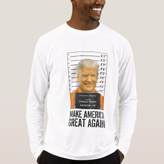 Trump Prison Mugshot MAGA Men's Sport-Tek Fitted Performance Long Sleeve T-Shirt