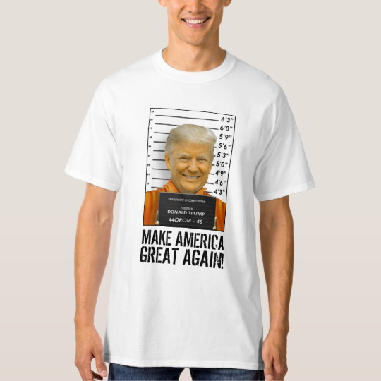 Trump Prison Mugshot MAGA Men's Tall Hanes T-Shirt