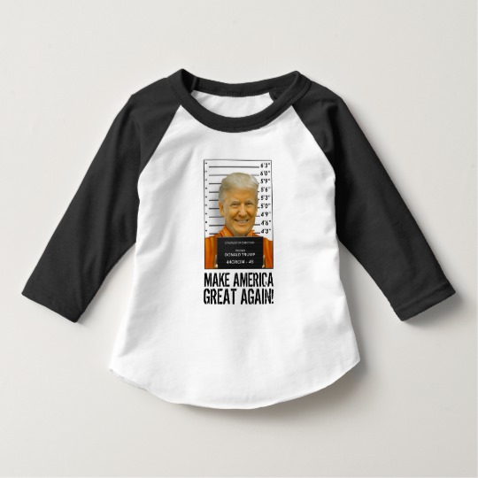 Trump Prison Mugshot MAGA Toddler American Apparel 3/4 Sleeve Raglan T-Shirt