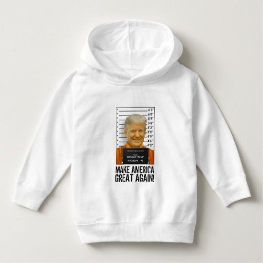 Trump Prison Mugshot MAGA Toddler Pullover Hoodie