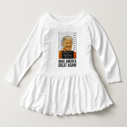 Trump Prison Mugshot MAGA Toddler Ruffle Dress