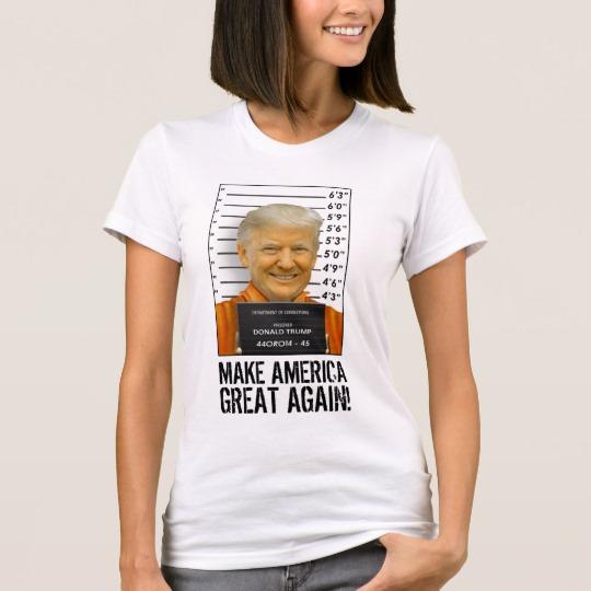 Trump Prison Mugshot MAGA Women's American Apparel Fine Jersey T-Shirt