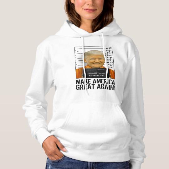 Trump Prison Mugshot MAGA Women's Basic Hooded Sweatshirt