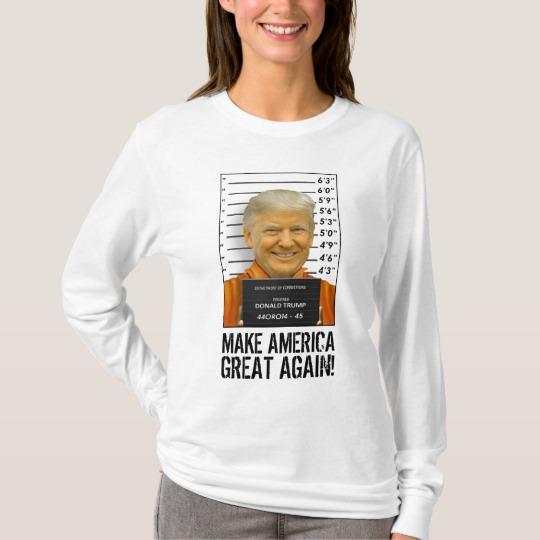 Trump Prison Mugshot MAGA Women's Basic Long Sleeve T-Shirt