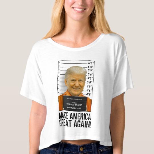 Trump Prison Mugshot MAGA Women's Bella+Canvas Boxy Crop Top T-Shirt