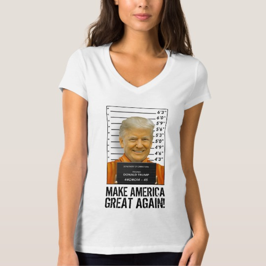 Trump Prison Mugshot MAGA Women's Bella+Canvas Jersey V-Neck T-Shirt