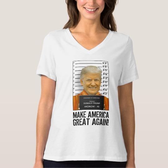 Trump Prison Mugshot MAGA Women's Bella+Canvas Relaxed Fit V-Neck T-Shirt