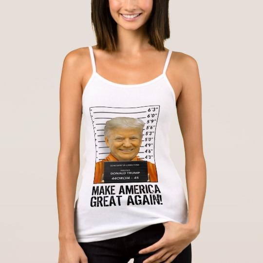 Trump Prison Mugshot MAGA Women's Bella+Canvas Spaghetti Strap Tank Top