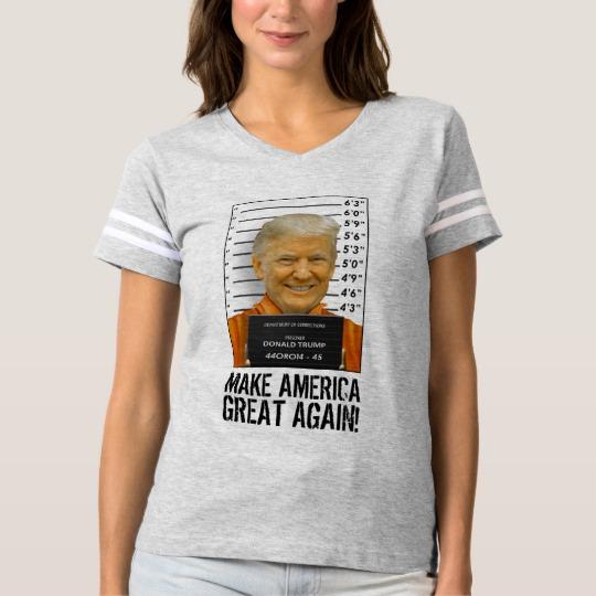 Trump Prison Mugshot MAGA Women's Football T-Shirt