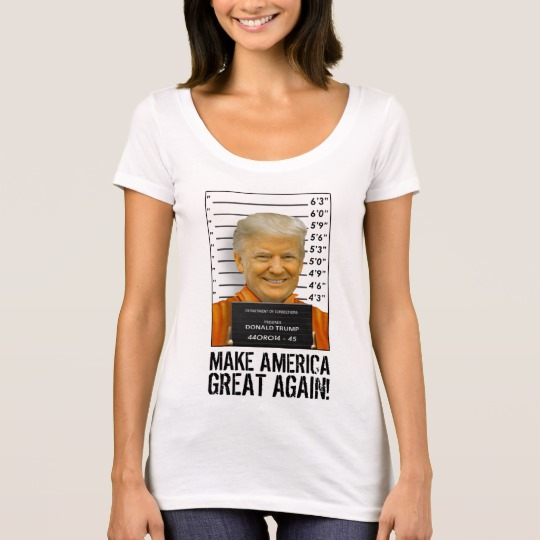 Trump Prison Mugshot MAGA Women's Next Level Scoop Neck T-Shirt
