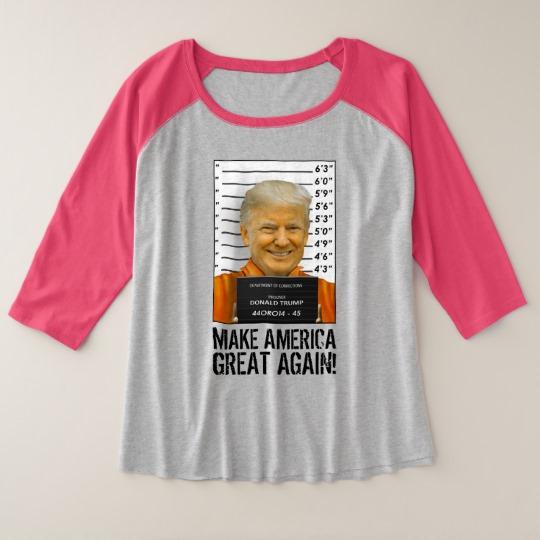 Trump Prison Mugshot MAGA Women's Plus-Size 3/4 Sleeve Raglan T-Shirt