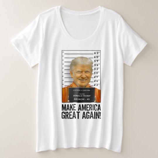 Trump Prison Mugshot MAGA Women's Plus-Size Basic T-Shirt