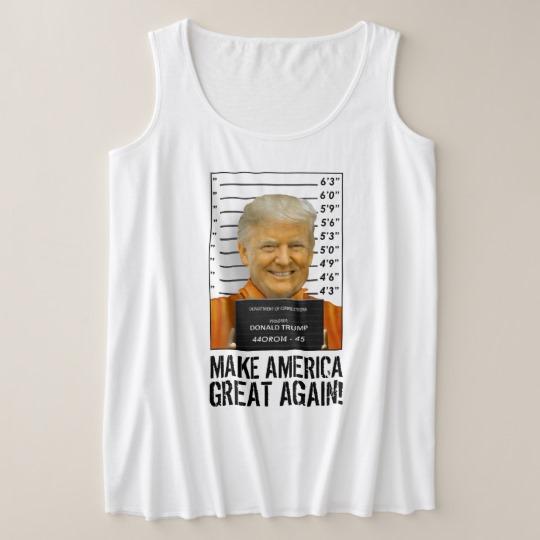 Trump Prison Mugshot MAGA Women's Plus-Size Tank Top