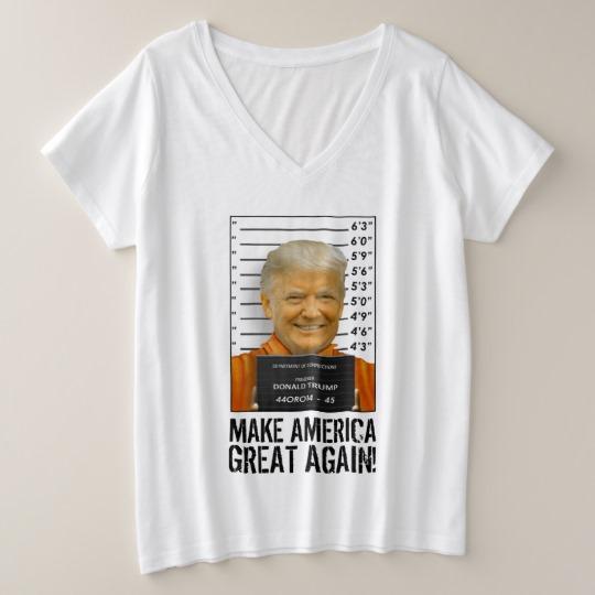 Trump Prison Mugshot MAGA Women's Plus-Size V-Neck T-Shirt