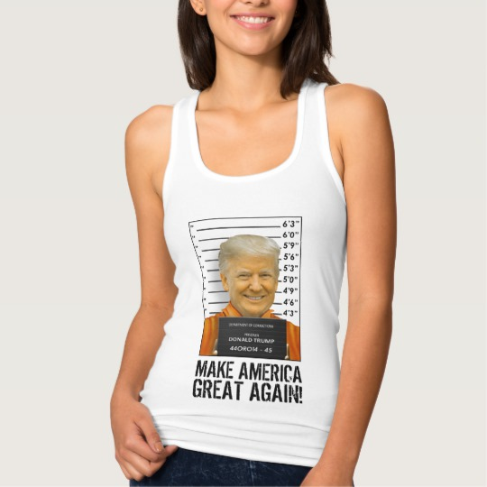 Trump Prison Mugshot MAGA Women's Slim Fit Racerback Tank Top