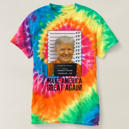 Trump Prison Mugshot MAGA Women's Spiral Tie-Dye T-Shirt