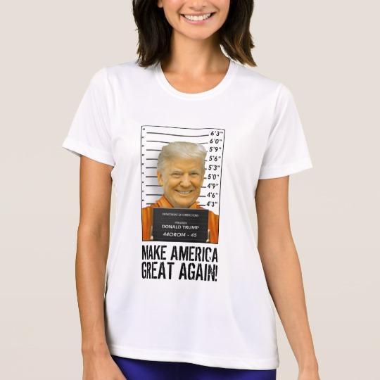Trump Prison Mugshot MAGA Women's Sport-Tek Competitor T-Shirt