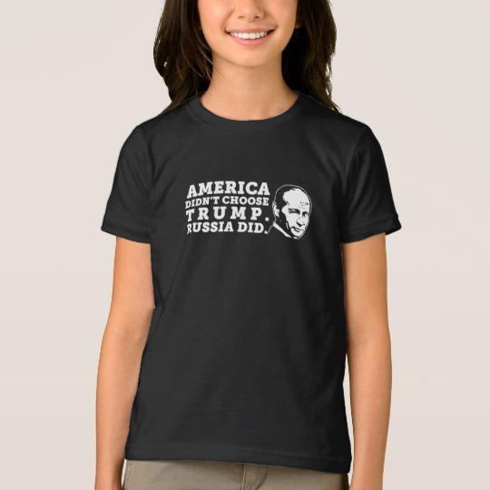Russia Chose Trump Girls' American Apparel Fine Jersey T-Shirt