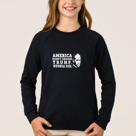 Russia Chose Trump Girls' American Apparel Raglan Sweatshirt