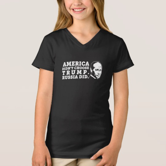 Russia Chose Trump Girls' Fine Jersey V-Neck T-Shirt