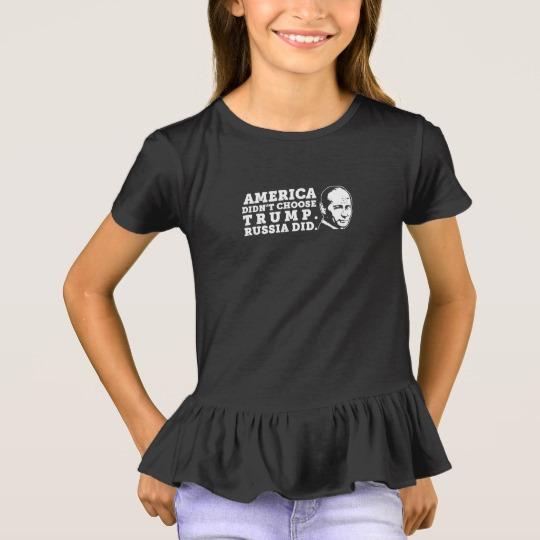 Russia Chose Trump Girls' Ruffle T-Shirt