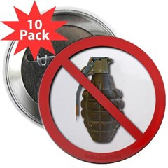 """No Grenades 2.25"""" Button (10 pack)"""