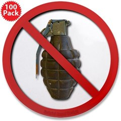 """No Grenades 3.5"""" Button (100 pack)"""