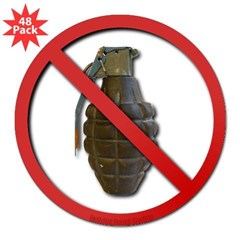 "No Grenades 3"" Lapel Sticker (48 pk)"