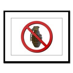 No Grenades Large Framed Print