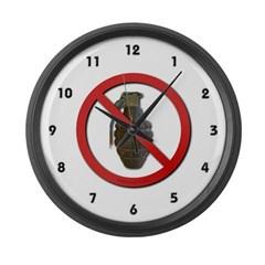 No Grenades Large Wall Clock