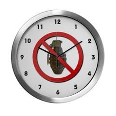 No Grenades Modern Wall Clock