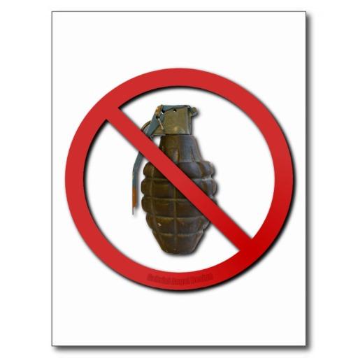 No Grenades Post Card