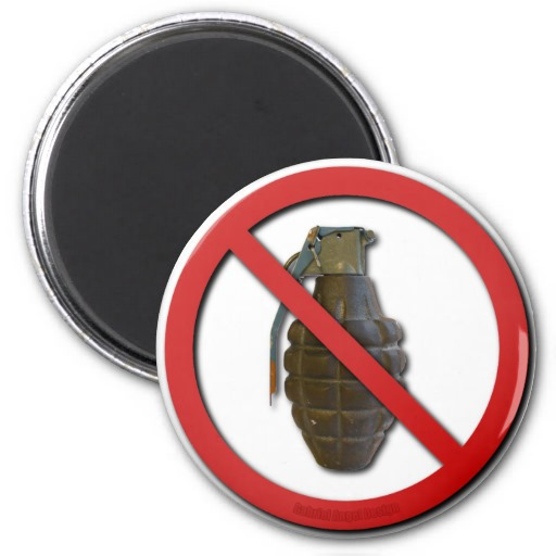 No Grenades Refrigerator Magnet