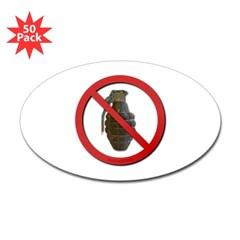 No Grenades Sticker (Oval 50 pk)