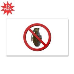 No Grenades Sticker (Rectangle 10 pk)